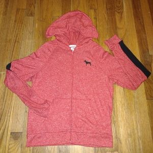 PINK red and black full zip hoodie size XS